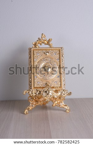 Notepad Gold Frame On Stand Souvenir Stock Photo (Download Now ...
