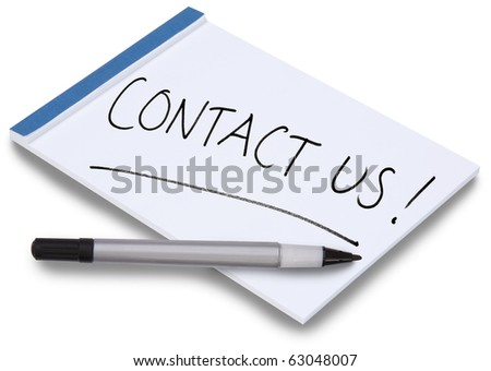 Notepad isolated with handwritten Contact Us on a white sheet of paper with blue binding and a pen lying on the paper. - stock photo