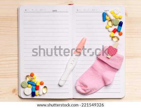 Notepad - top view - stock photo