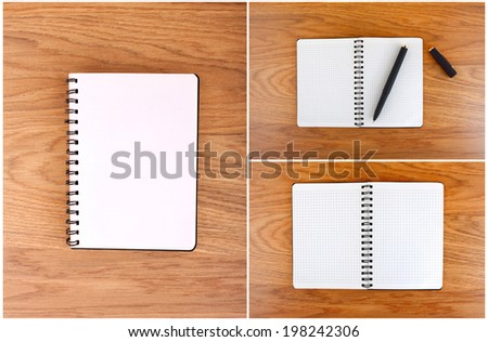Notepad with a spiral binding and checkered sheets on a wooden background. A set of open notebooks - stock photo