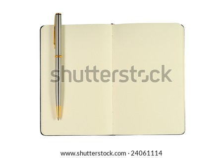 Notepad With Blank Pages and Pen. Isolated on White. - stock photo