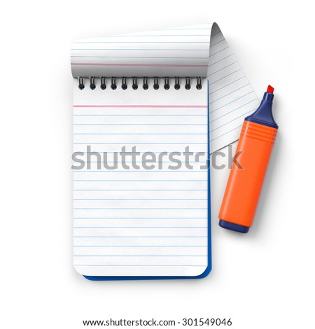 Notepad with orange highlighter.Cap removed.Realistic 3D rendering.Isolated on white background.Top view.  - stock photo