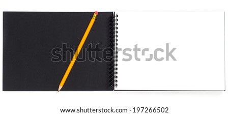 Notepad with pencil isolated on white - stock photo