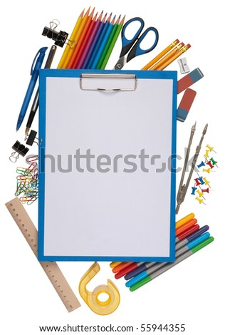 notepad with stationary objects in the background - stock photo