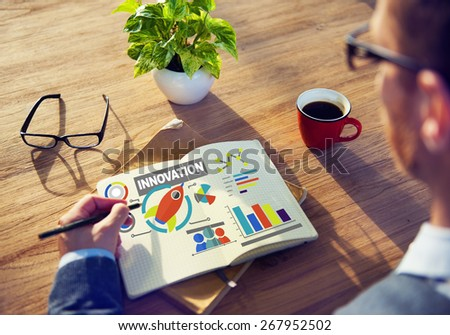 Notepad Working Creativity Growth Success Innovation Concept - stock photo