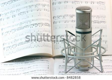 notes background and music recording microphone studio tools