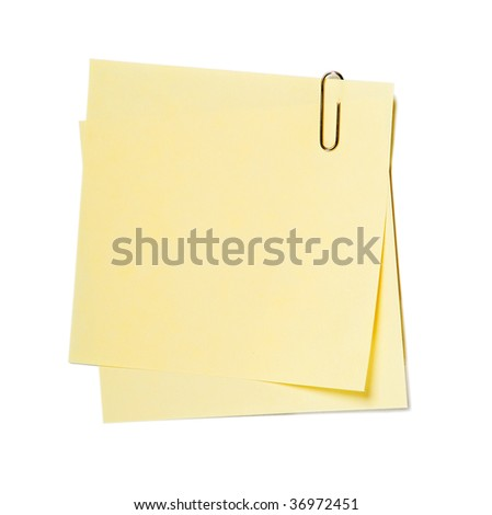 Notes , stickers with clip isolated on white