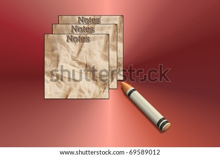 Notes with crayon - stock photo