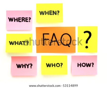 notes with questions and faq over white background - stock photo