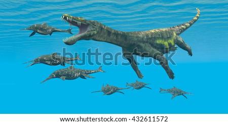 Nothosaurus attacks Shonisaurus 3D Illustration  - Shonisaurus Ichthyosaurs are prey and hunted by the enormous Nothosaurus aquatic reptile in Triassic seas. - stock photo