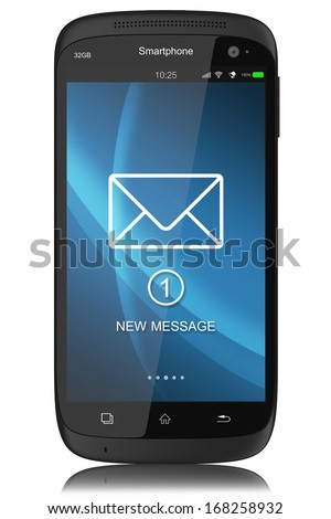 Notification of SMS on display modern touchscreen smartphone - stock photo
