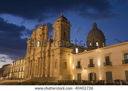 Noto, Cathedral, Siracusa, Sicily, Italy - stock photo