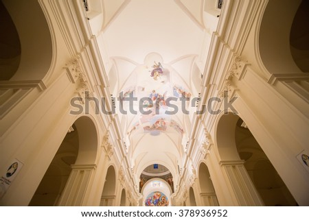 Noto, Italy - February 06, 2016 : Basilica Cattedrale di San Nicolo.  Roman Catholic cathedral in Noto. Built in the style of the Sicilian Baroque. - stock photo