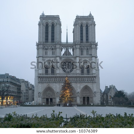Notre-Dame,after Christmas,early morning, January2008 - stock photo