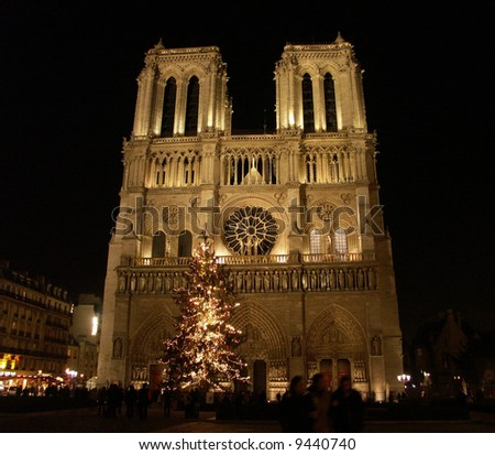 Notre Dame at night during Christmas