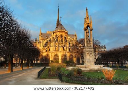 Notre Dame at sunrise - Paris, France - stock photo