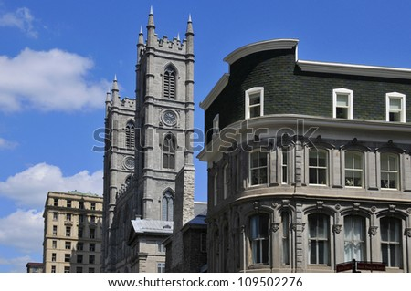 Notre Dame Basilica in Montreal, Quebec, Canada - stock photo
