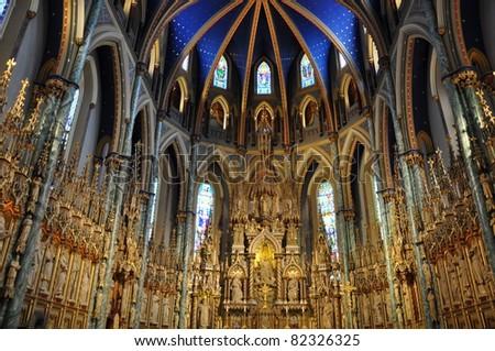Notre Dame Basilica in Ottawa, Canada - stock photo
