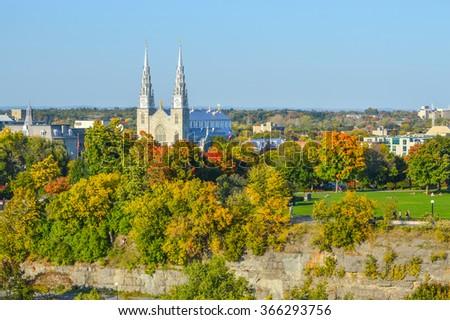 Notre Dame Basilica - Ottawa - Canada - stock photo
