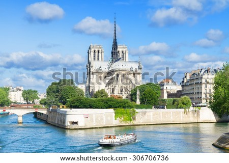 Notre Dame  cathedral church over the Seine river at summer day, Paris, France - stock photo