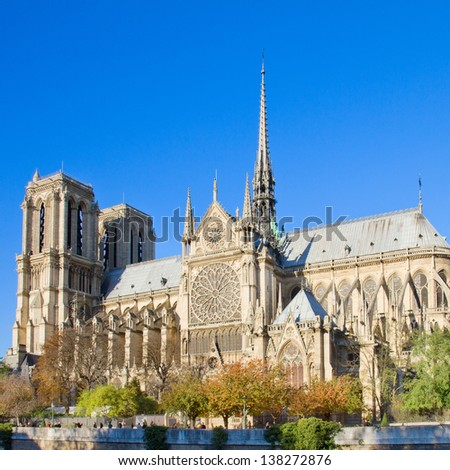 Notre Dame  cathedral church, side view, Paris, France - stock photo