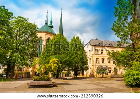 Notre-Dame Cathedral facade view in Luxembourg - stock photo