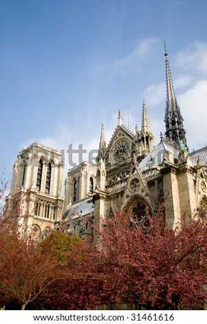 Notre Dame Cathedral in Paris, France. - stock photo