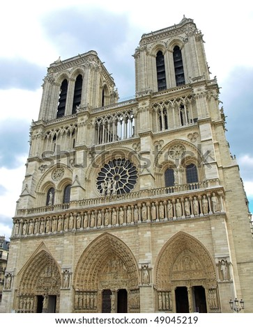 Notre Dame Cathedral in Paris. The classic view from the west.