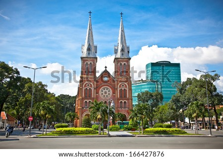 Notre-Dame Cathedral landmark in Ho Chi Minh City, Vietnam. - stock photo
