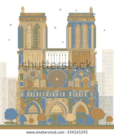 Notre Dame Cathedral - Paris. Business travel and tourism concept with historic building. Image for presentation, banner, placard and web site. - stock photo