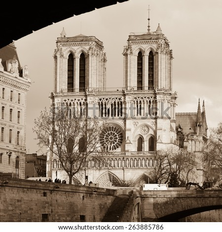 Notre-Dame Cathedral - Paris, France. - stock photo