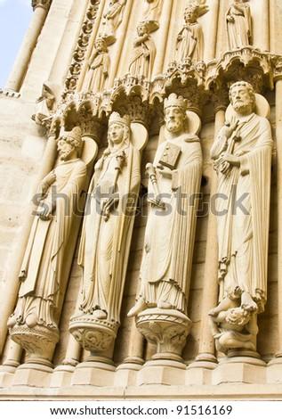 Notre dame Church's statue, Paris - stock photo