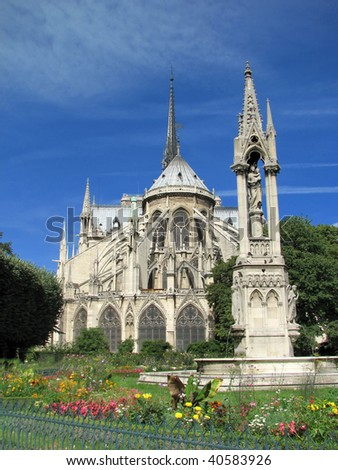 Notre Dame de Paris - Apse Exterior - stock photo
