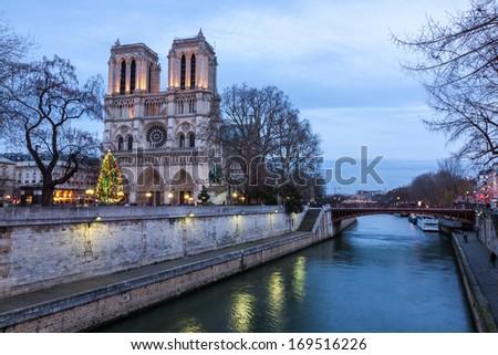 Notre Dame de Paris at dusk, France. - stock photo