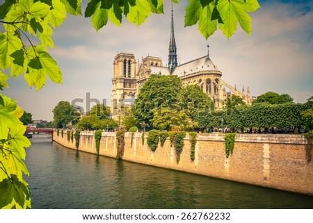 Notre Dame de Paris at spring, France - stock photo