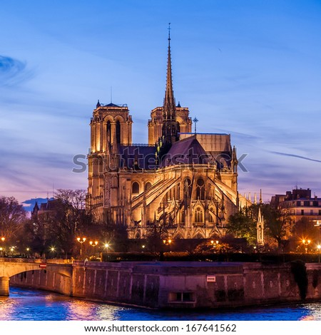 Notre Dame de Paris Cathedral at night. - stock photo
