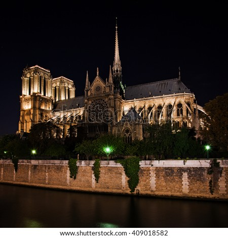 Notre Dame de Paris Cathedral at night, France - stock photo