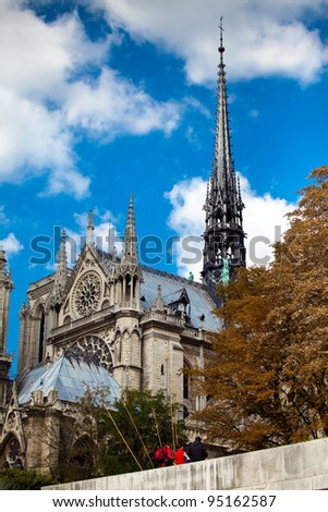 Notre Dame de Paris cathedral on the la seine river, Paris - stock photo