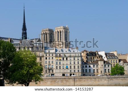 Notre-Dame de Paris, gothic cathedral, stands in the heart of the Ile de la Cité. In the foreground, the beautiful ?quai aux fleurs? (Flowers quay). - stock photo