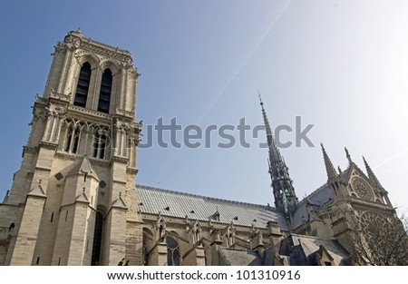 Notre Dame de Paris, Our Lady of Paris, facing north (France) - stock photo