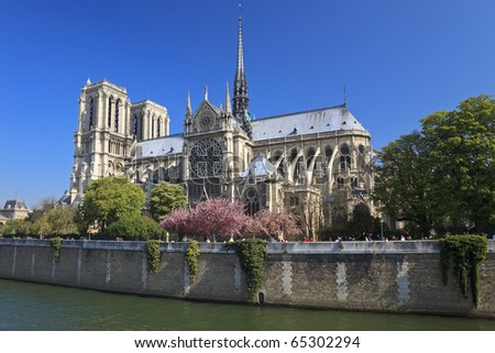 Notre Dame de Paris, view across the Seine River, Paris - stock photo