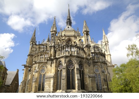 Notre-Dame de Reims Cathedral. Reims, France - stock photo