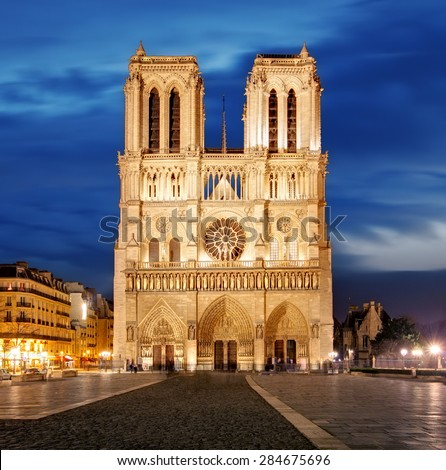 Notre Dame in Paris, France - stock photo