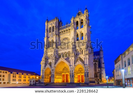 Notre-Dame of Amiens Cathedral. Vast, 13th-century Gothic edifice, famous for lavish decoration & carvings, with 2 unequal towers. - stock photo