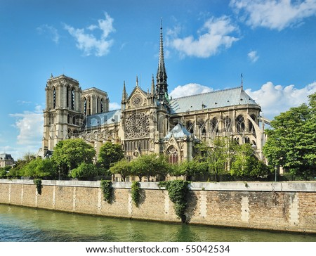 Notre Dame (Paris) along the Seine river - stock photo