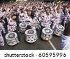 NOTTING HILL, LONDON - AUG 31:  Drummers from Batala Banda de Percussao perform on the streets of London at the Notting Hill Carnival street parade on August 30, 2010 in Notting Hill, London, England - stock photo