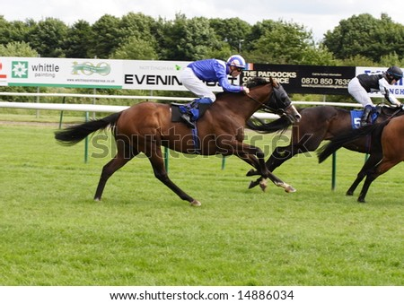 Nottingham Racecourse UK - July 12 Mushtaaq(USA) ridden by JR Guillambert, owned by Mr Hamdan Al Maktoum