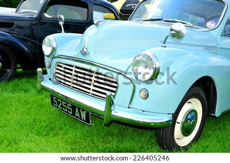 NOTTINGHAM, UK - JUNE 1, 2014: Front view of a Morris vintage car for sale in Nottingham, England. - stock photo