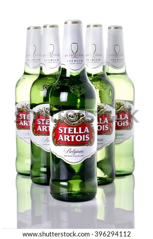 NOTTINGHAM, UK - MARCH 26, 2016: Bottle of Stella Artois 4.8% ABV lager beer. Stella was introduced in 1926 in Belgium. - stock photo
