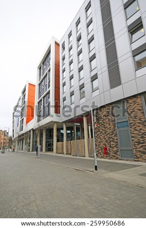 Nottingham, UK - MARCH 8, 2015: Trent University Student Union, Nottingham, England, UK. Nottingham is known for its links to the legend of Robin Hood and lace-making, bicycle and tobacco industries. - stock photo